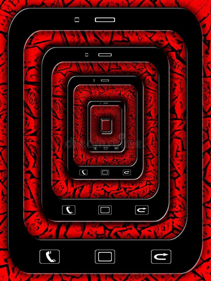 与黑telefon的样式在红色 免版税库存图片