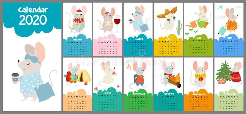 与鼠的逗人喜爱,风格化手拉的月度2020日历 能为横幅、海报、卡片,明信片和可印使用 向量例证