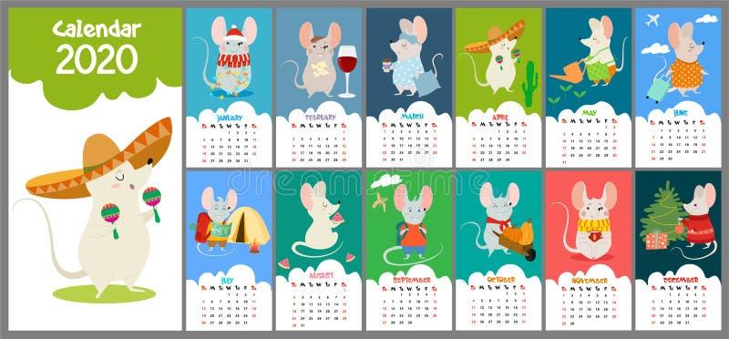 与鼠的逗人喜爱,风格化手拉的月度2020日历 能为横幅、海报、卡片,明信片和可印使用 皇族释放例证