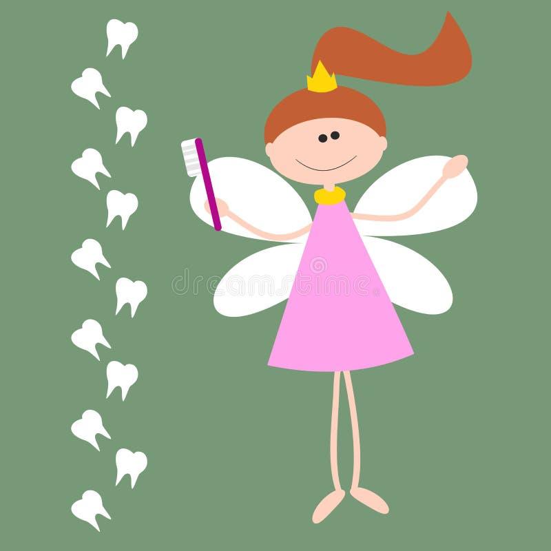 与齿妖的传染媒介卡片 有翼和Toothbrash的女孩 向量例证