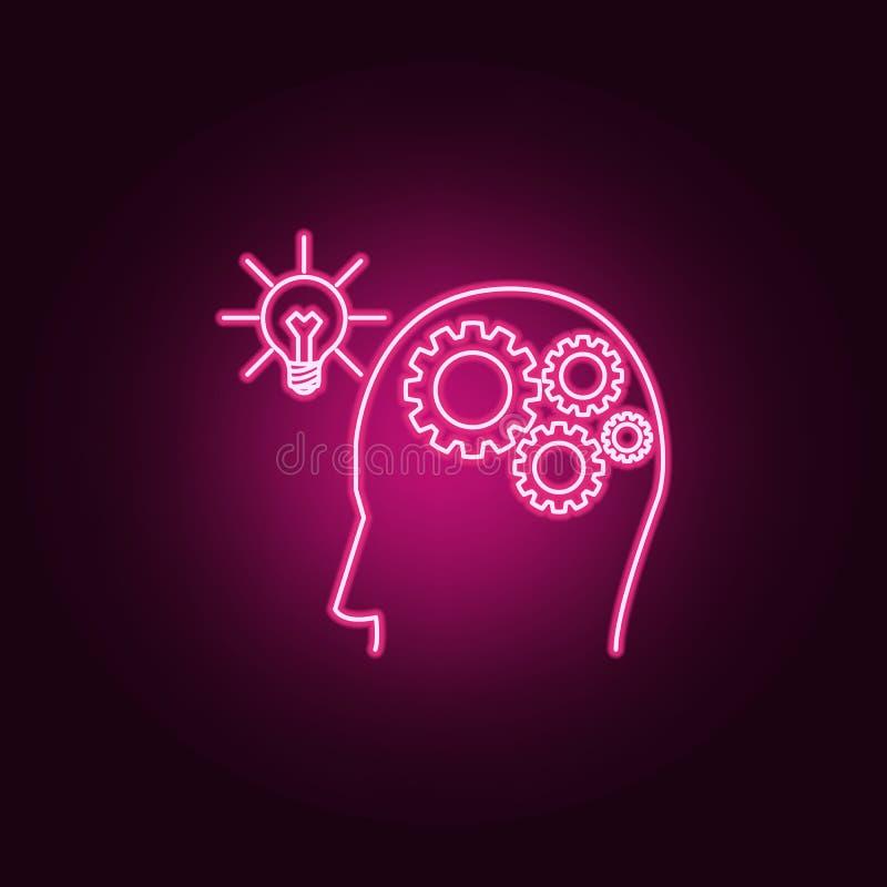 与齿轮的人脑被连接到电灯泡霓虹象 想法集合的元素 r 皇族释放例证
