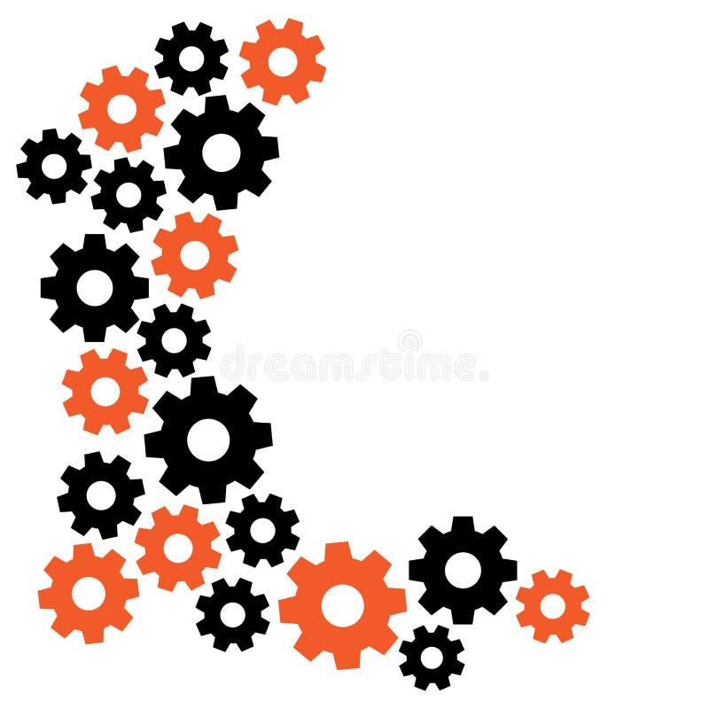 与齿轮的几何背景,您的文本的框架,橙色和黑 ?? 库存例证
