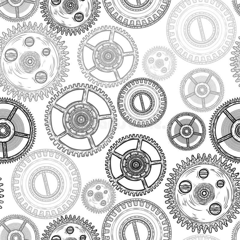 与齿轮的无缝的样式 钟表机构结构 向量例证