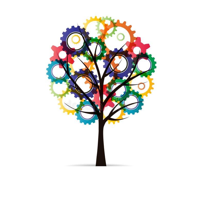 与齿轮的树 库存例证
