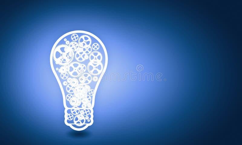与齿轮的电灯泡 库存图片