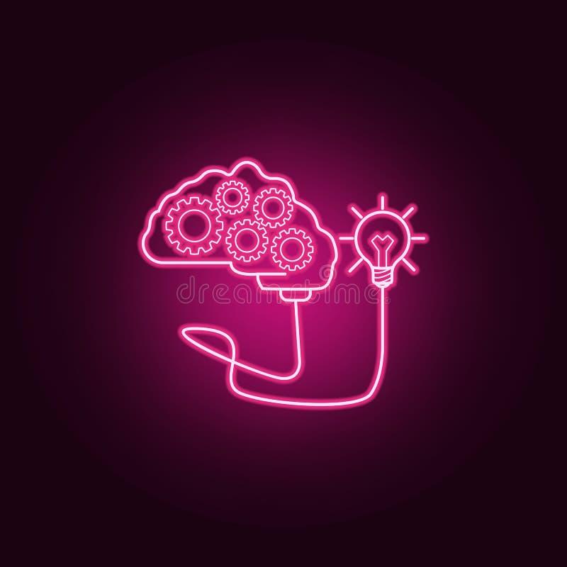与齿轮的脑子被连接到一个电灯泡霓虹象 想法集合的元素 r 向量例证