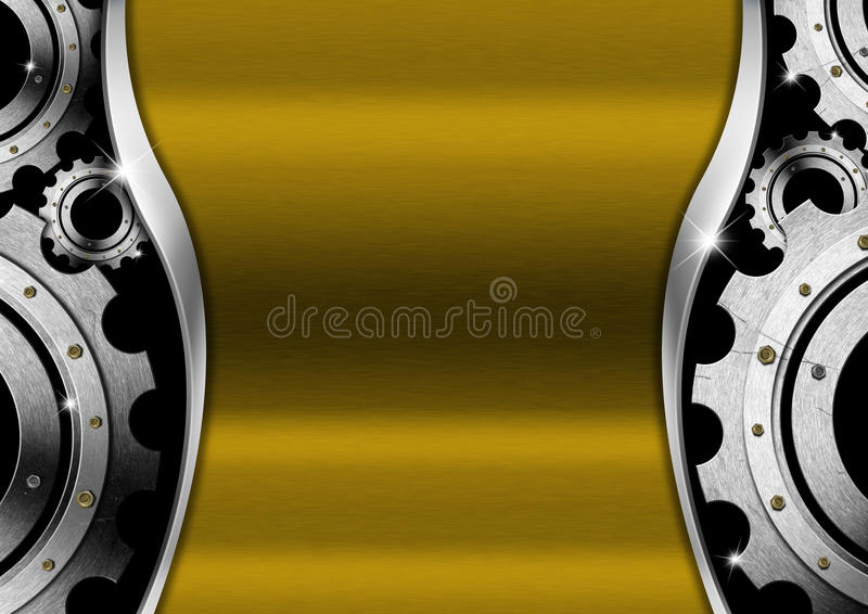 与齿轮的金和金属背景 库存例证