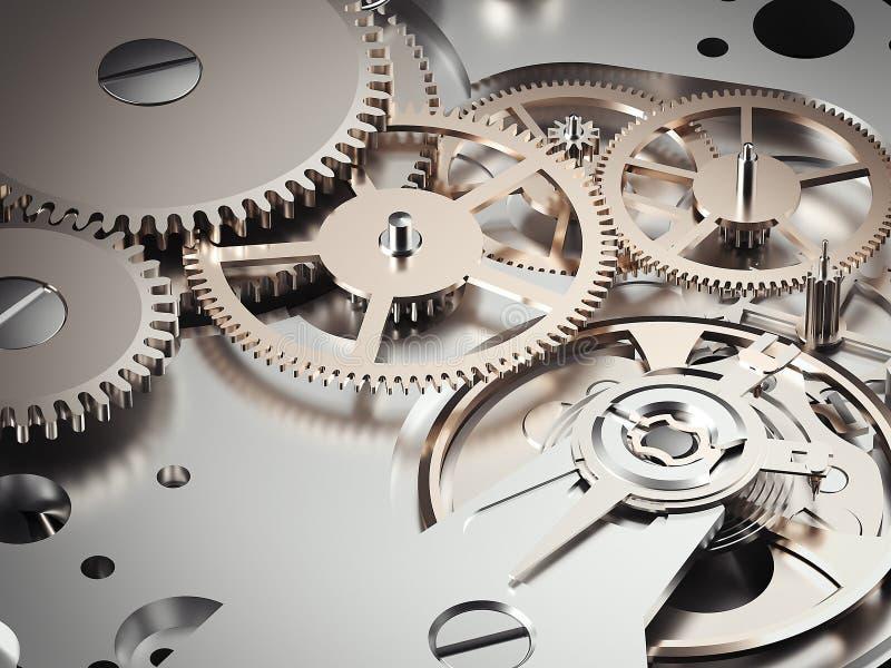 与齿轮的钟表机构机制 3d翻译 库存例证