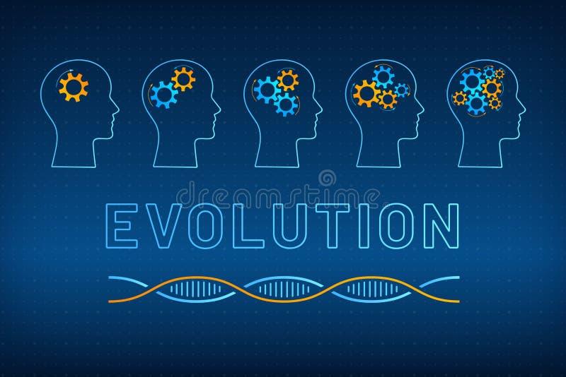 与齿轮脑子演变概念的顶头外形 向量例证