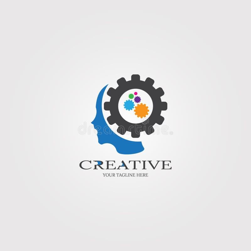 与齿轮象模板的创造性的头脑,公司的事务的,人脑,创造性,例证商标技术- 向量例证