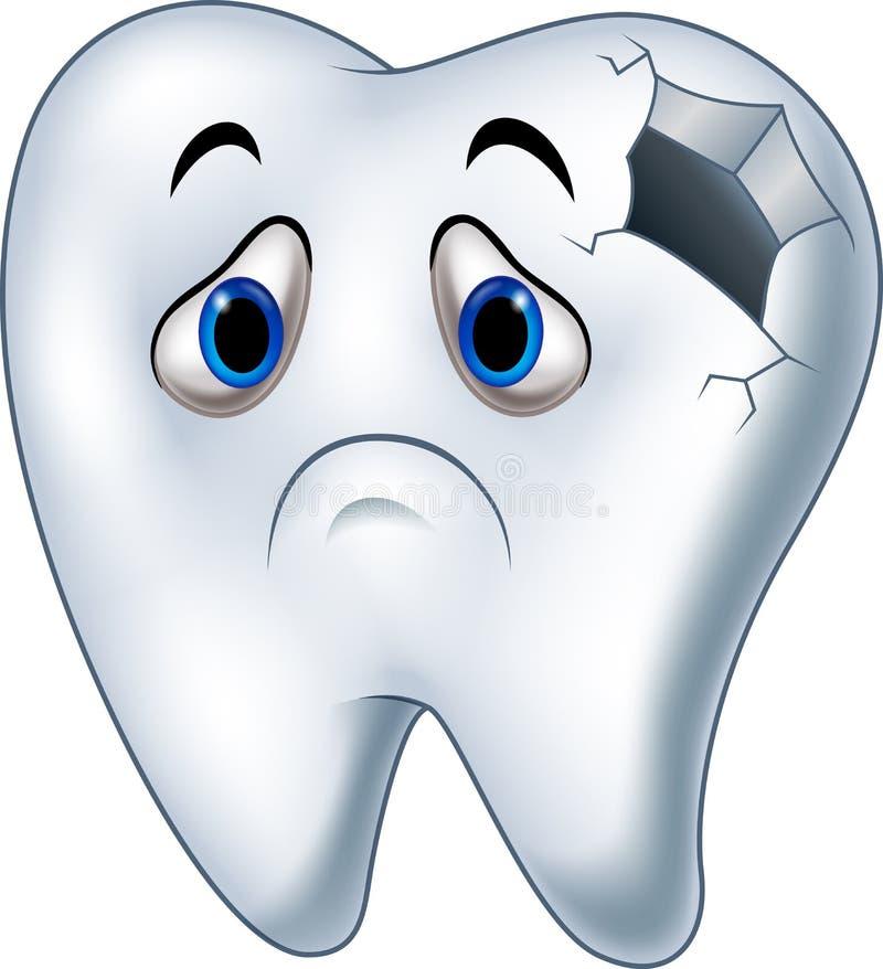 与龋的病态的牙字符 库存例证