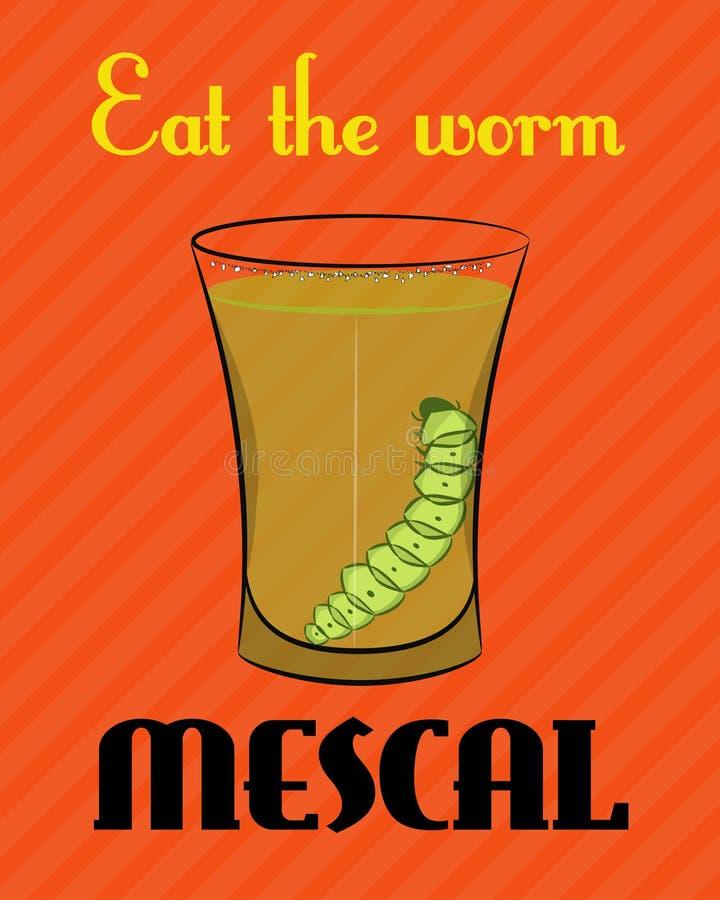 与龙舌兰酒的图象的海报与蠕虫的在橙色背景 库存例证