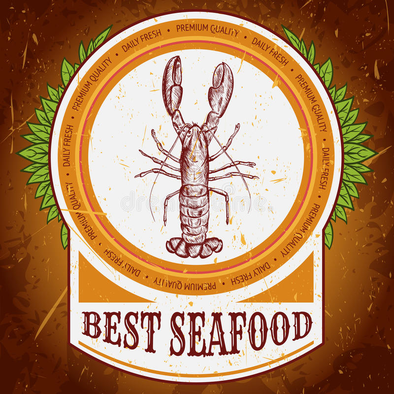 与龙虾的最佳的海鲜葡萄酒标签在难看的东西背景纹理 减速火箭的手拉的传染媒介例证 皇族释放例证