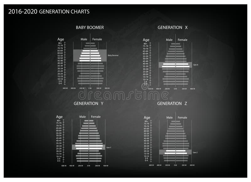 2016-2020与4一代的人口年龄金字塔图表 库存例证