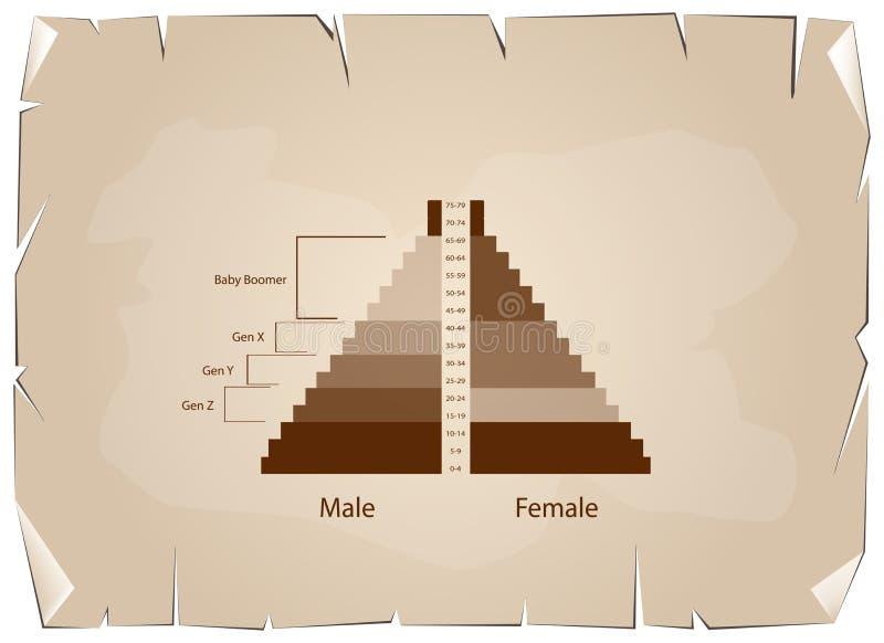 与4一代的人口年龄金字塔图表 向量例证