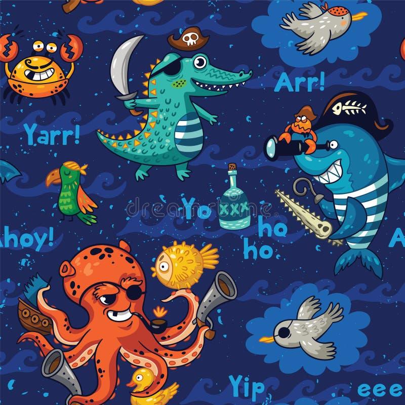 与水下的海盗的无缝的样式,鳄鱼,章鱼,鲨鱼,螃蟹 库存例证
