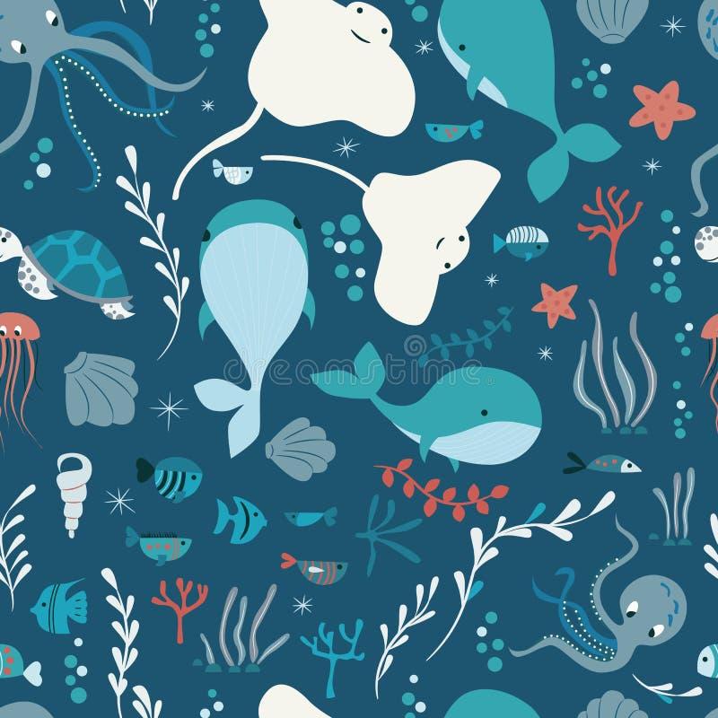 与水下的海洋动物的无缝的样式,鲸鱼,章鱼,黄貂鱼, jellysfish 皇族释放例证