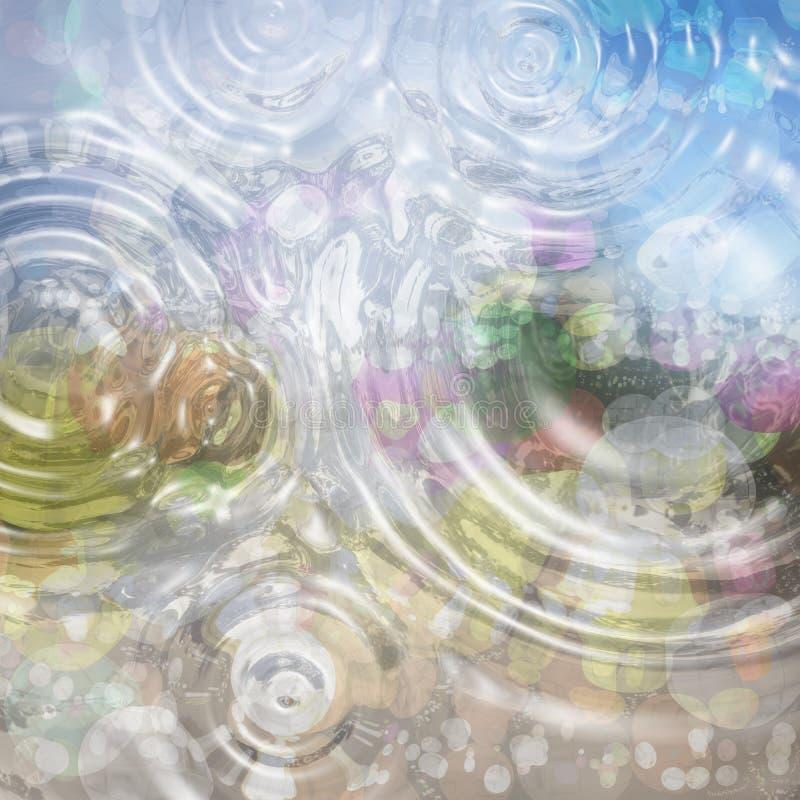 与水下落的五颜六色的抽象背景 镇静颜色 库存例证