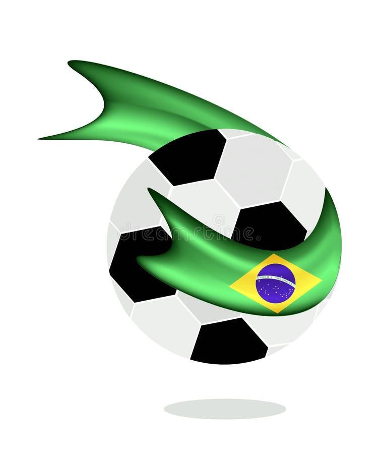 与2014年世界杯巴西旗子的足球  皇族释放例证