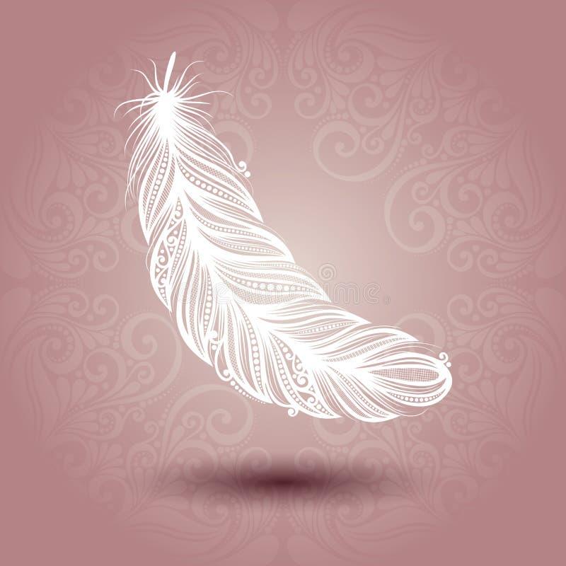 与绝世的羽毛的模板在华丽背景中 皇族释放例证