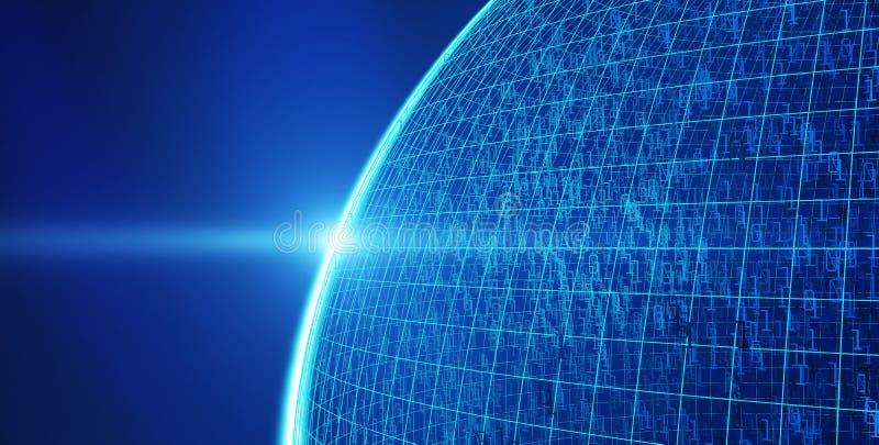 与01个二进制数据,互联网连接概念的行星地球 库存例证
