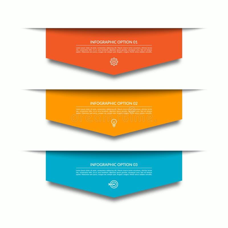 与3个向下五颜六色的纸箭头的Infographic模板 能为图,图,网络设计使用 向量例证