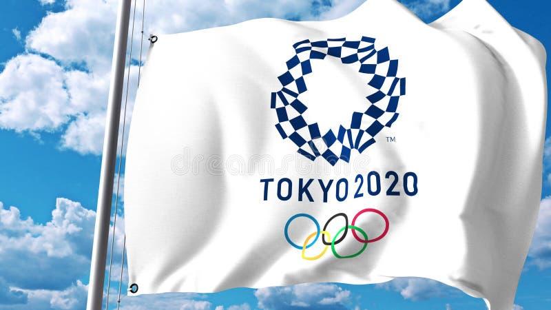 与2020个夏季奥运会商标的挥动的旗子反对云彩和天空 社论3D翻译 皇族释放例证