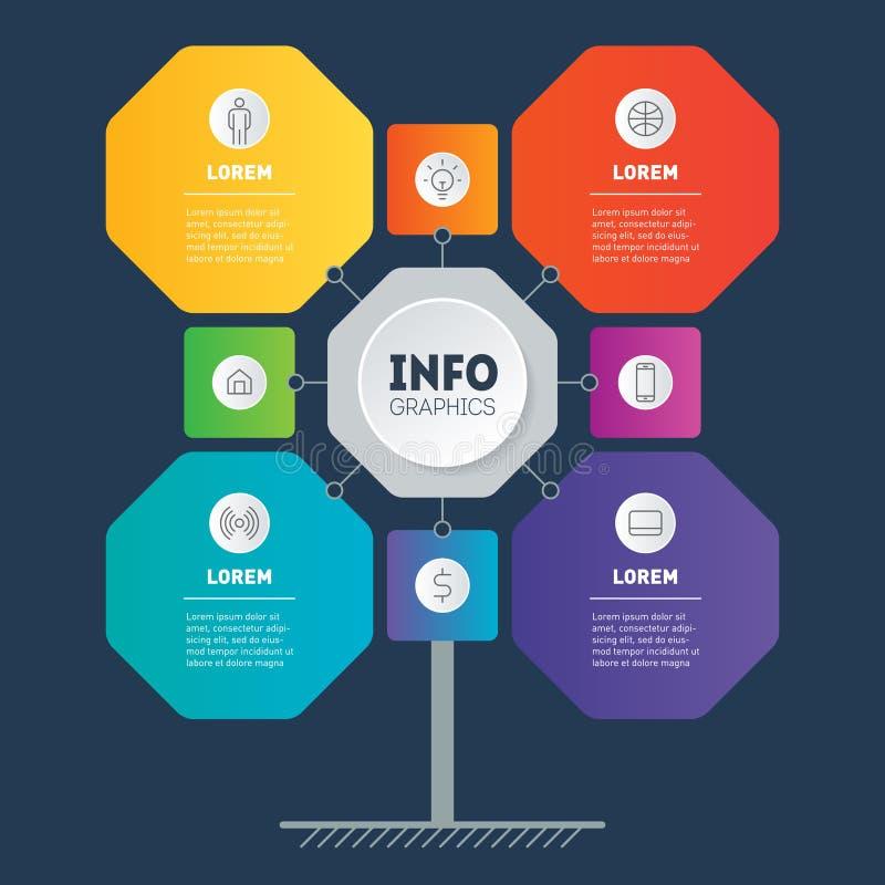 与8个或4个选择的企业介绍 发展树、图或者图模板  技术或教育信息图表  皇族释放例证