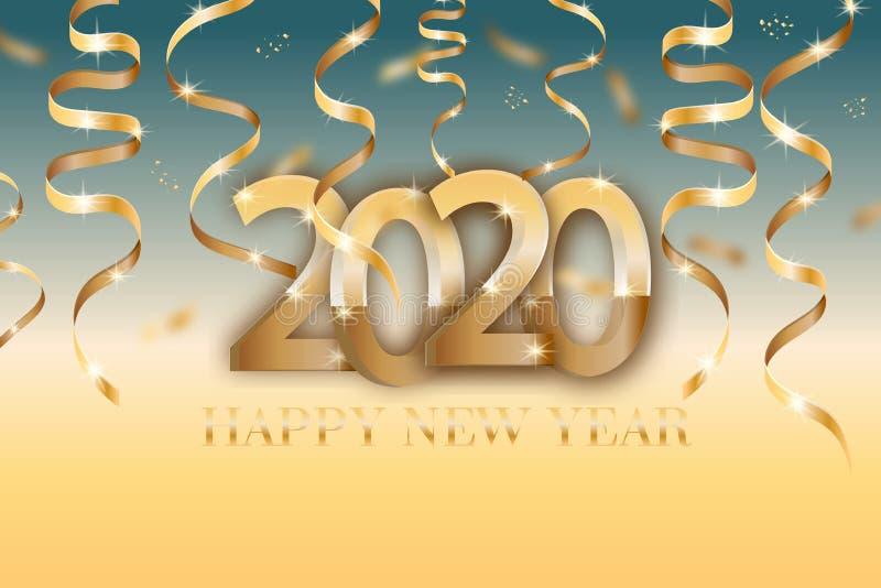 与2020个数字和金黄丝带的海报 飞行物的新年快乐动态设计元素,销售,小册子,介绍, 库存例证