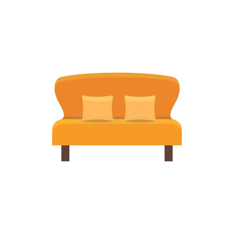 与2个枕头的橙色loveseat 双重沙发 也corel凹道例证向量 皇族释放例证