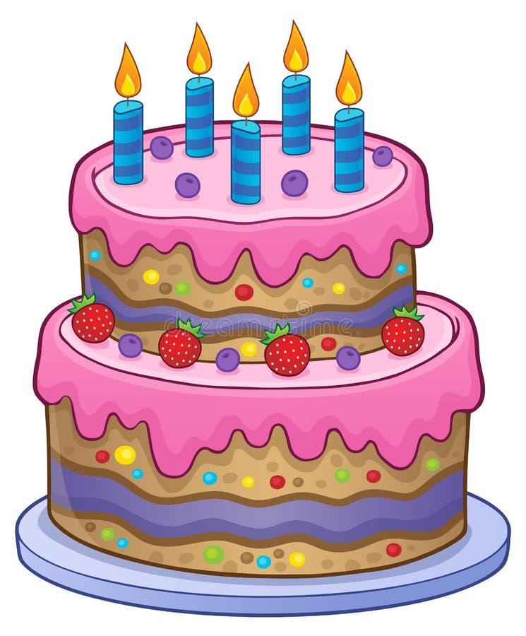 与5个蜡烛的生日蛋糕 皇族释放例证