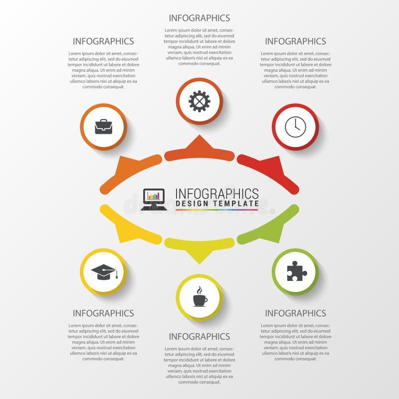 与6个选择、部分、步或者过程的企业概念 图、图表、介绍和图的模板 传染媒介illustrati 向量例证