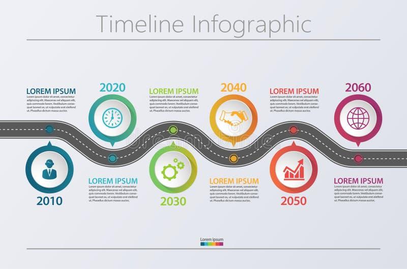 与6个选择的介绍企业路线图infographic模板 库存例证