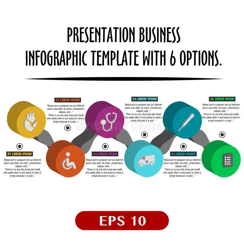 与6个选择的介绍企业infographic模板 也corel凹道例证向量 皇族释放例证