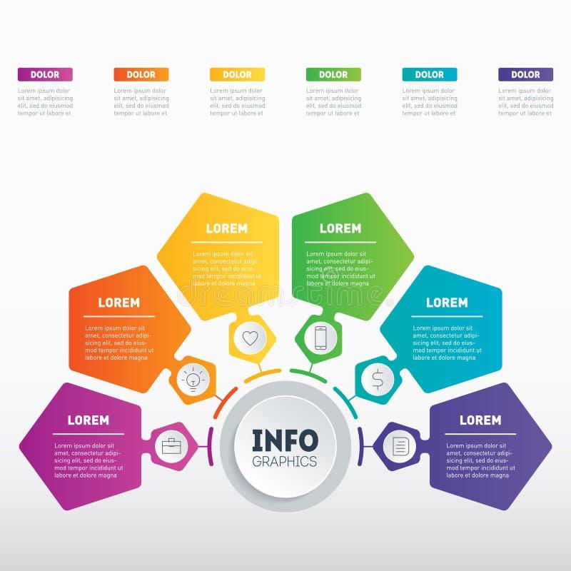 与6个选择的企业介绍 图的模板, mindm 向量例证