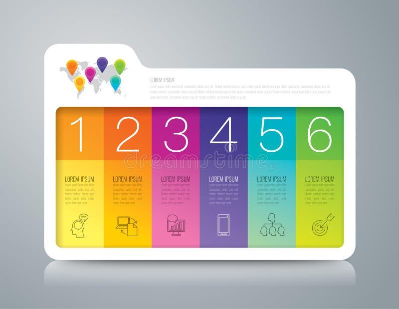 与6个选择的文件夹infographic设计和企业象 向量例证
