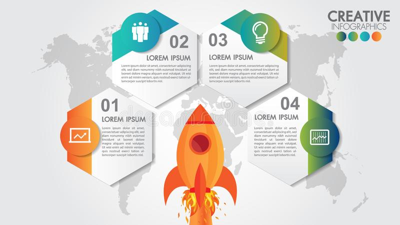 与4个选择的起始的传染媒介圈子infographics迅速上升发射和被称呼的世界地图 离开在使命,4个元素的太空飞船 皇族释放例证