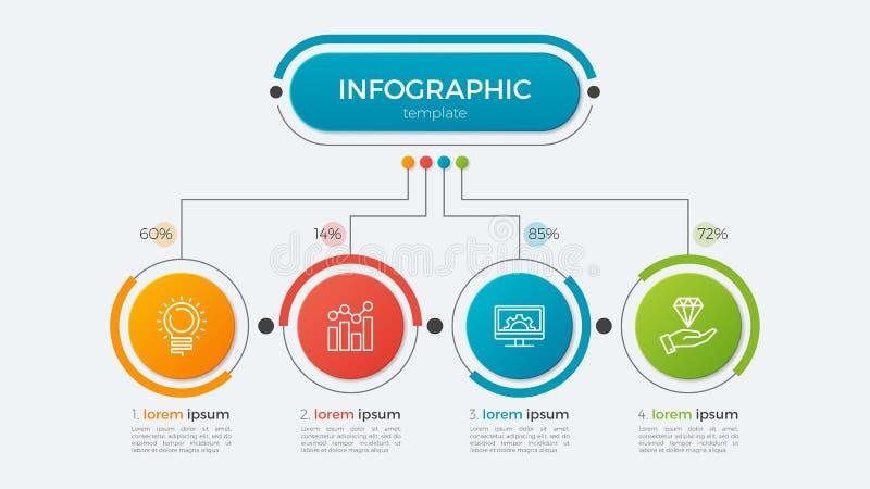 与4个选择的介绍企业infographic模板 皇族释放例证