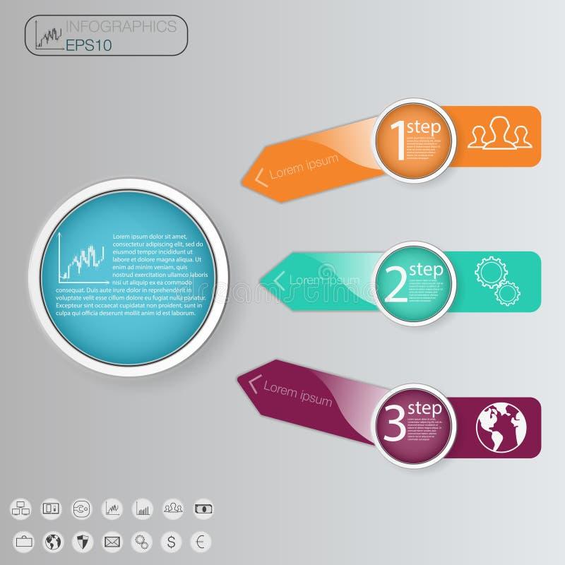 与3个选择,零件的企业概念, 3步绘制模板图表 向量 信息图表 库存例证