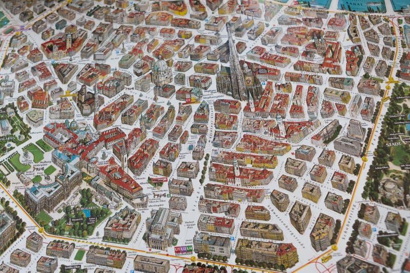 与维也纳大厦的街道地图  免版税库存图片