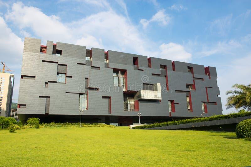 与经典样式,新的广东博物馆的Mordern大厦在广州小行政区中国亚洲的蓝天下 库存图片