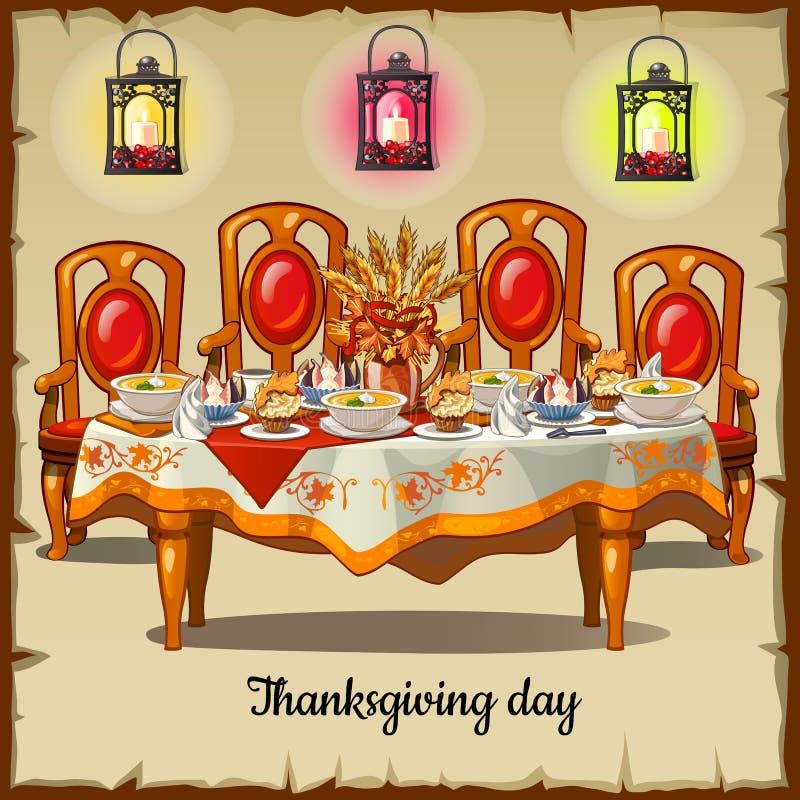 与经典cheir和食物的礼仪桌 向量例证