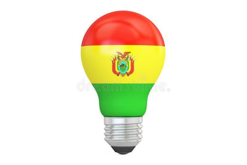 与玻利维亚旗子, 3D的电灯泡翻译 库存例证