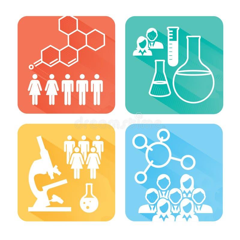 与绘制疾病或科学发现图表的人的医疗医疗保健象 向量例证