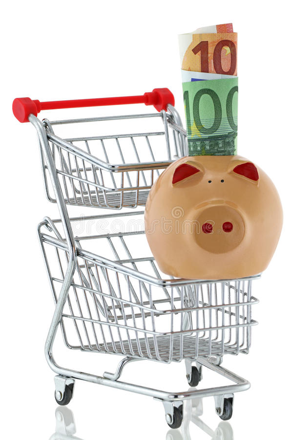 与滚动的欧洲钞票的猪坐购物推挤推车 库存照片