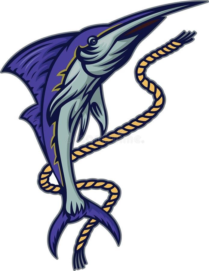 与绳索动画片例证的细索鱼 库存例证