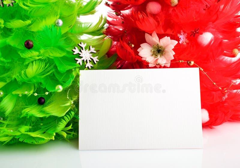 与贺卡的圣诞树 免版税图库摄影