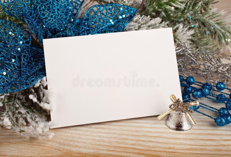 与贺卡的圣诞节装饰 免版税库存图片