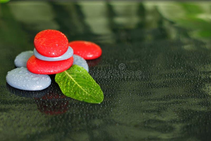 与水和一片绿色叶子下落的灰色和红色石头在黑背景的禅宗生活方式安排了 库存图片