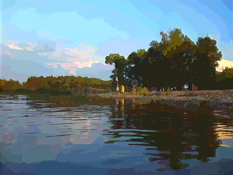 与水和天空树的一个美丽如画的风景 免版税库存照片